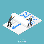 Simple solution flat isometric vector concept. Two man are taking away a paper sheet with many curved arrows to different directions on it to clear a new sheet that contains just one solid straight ar