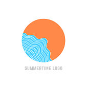 simple summertime with blue waves. concept of trip, island, relax, sunrise or sunset, sunny coast, marine journey. flat style trend modern brand design vector illustration on white background
