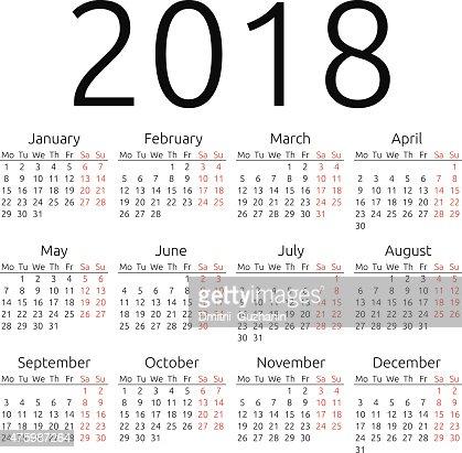 Simple Vector Calendar 2018 Vector Art | Thinkstock