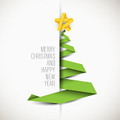 Simple vector card with green christmas tree made from paper stripe - original new year card