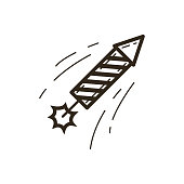black and white simple vector line art Christmas icon of a flying firecracker rocket