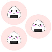 Simple vector of three kawaii rice balls with different facial expressions.