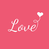 White LOVE with heart on pink background