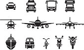 Simple vehicle icons in frontviews including a car, bus, truck, helicopter, plane, jet, ship, camper, ship, train, bicycle and a motocycle.