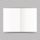 Simple white open card template isolated on transparent background. Vector illustration. Eps 10.