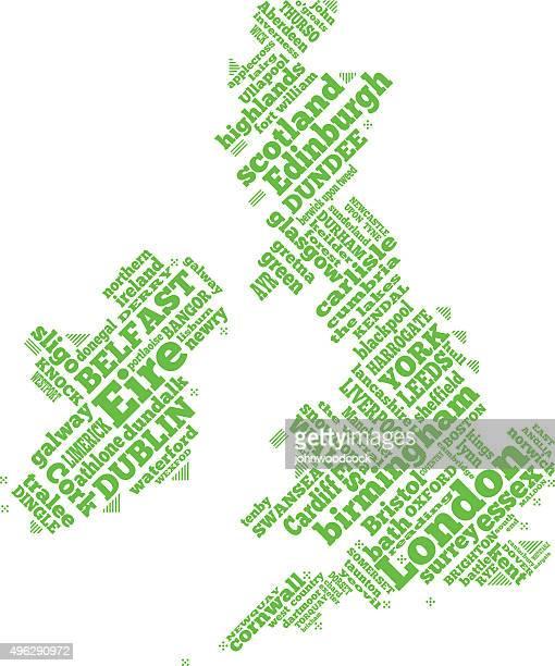 UK simple word map illustration
