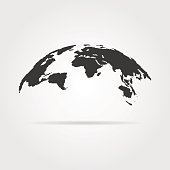 simple world map icon with shadow. concept of infographics element, trip around the world, globalization. isolated on gray background. flat style trend modern design vector illustration