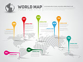 Simple World map infographic template with pointer marks, dark vector version