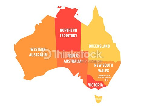 Simplified map of Australia divided into states and territories. Orange flat map with white labels. Vector illustration : stock vector