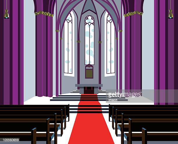 Simplistic image of a symmetrical church hall