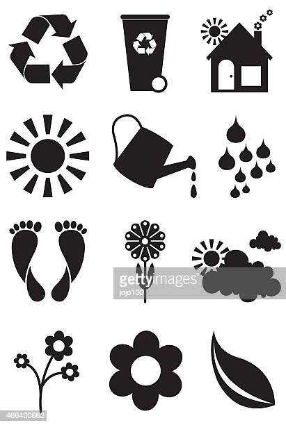 Simply Green Ecology Icon Set in Black