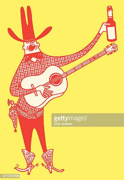 Singing Cowboy with Guitar and Beer