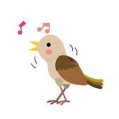 Singing Nightingale bird animal cartoon character. Isolated on white background. Vector illustration.