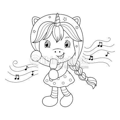 Chica De Unicornio De Cantar Con Micrófono Página Para Colorear Para ...
