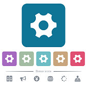 Single cogwheel white flat icons on color rounded square backgrounds. 6 bonus icons included