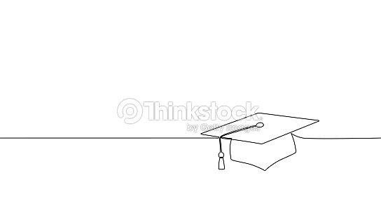 Cap de graduation simple ligne continue art. Célébration cérémonie maîtrise Académie conception supérieures un croquis esquisse dessin illustration vectorielle : clipart vectoriel