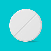 Single pill on blue background top view. Vector illustration