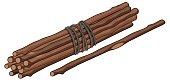 Single stick and bunch of sticks illustration