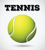 Single tennis ball with text illustration