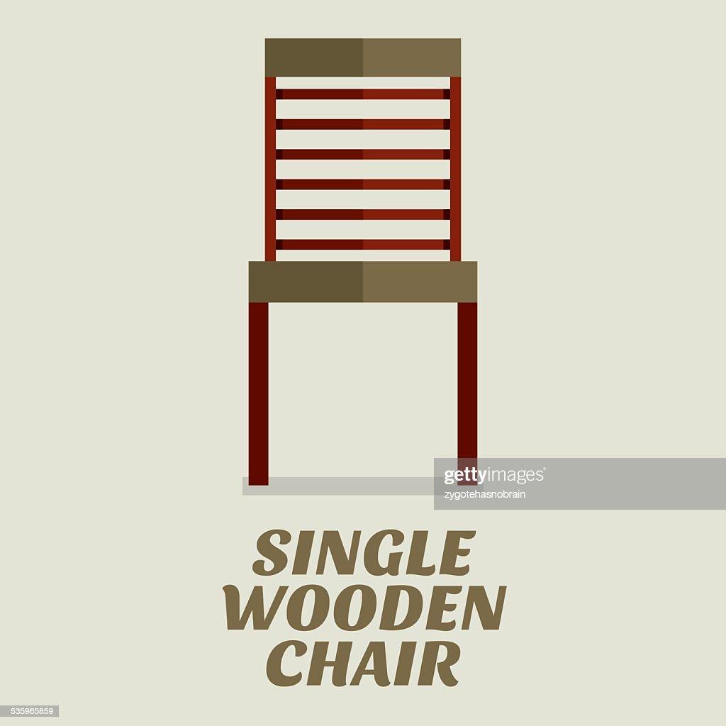 Single Wooden Chair Flat Design : Vector Art