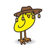 Single Cute Yellow Australian Chick Turning and Staring towards camera  wearing a Bush Hat on White 57ed687dc21