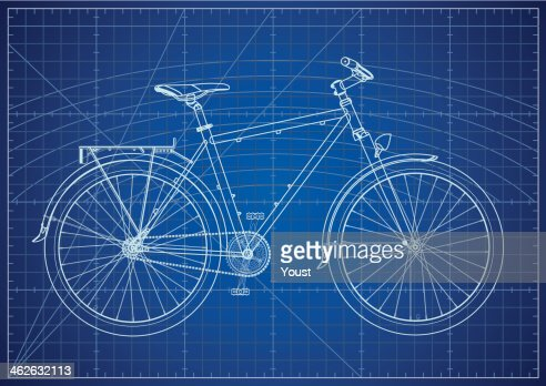 bicycle blueprint vector art getty images