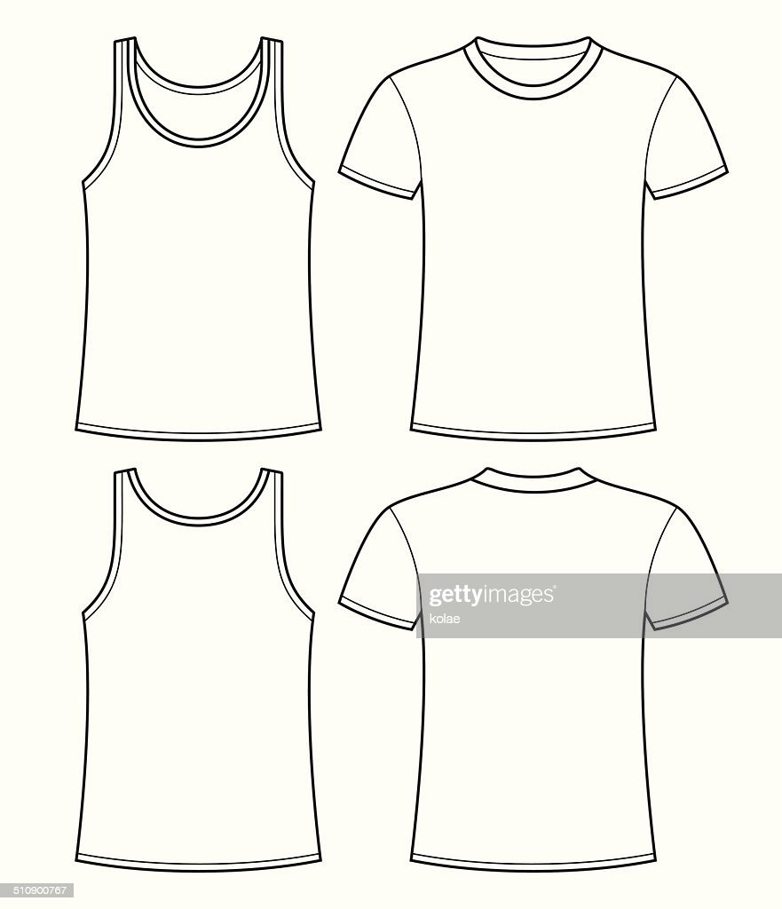 singlet and tshirt template front and back vector art getty images. Black Bedroom Furniture Sets. Home Design Ideas