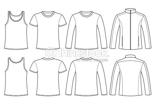 Singlet Tshirt Longsleeved Tshirt And Jacket Template Vector Art
