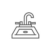 Sink thick line icon with pointed corners and edges for web, mobile and infographics. Vector isolated icon.