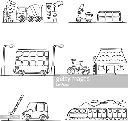 Six Black And White Transportation Scenarios Vector Art