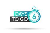 Six days to go. Flat icon. Vector typographic design. Vector stock illustration.