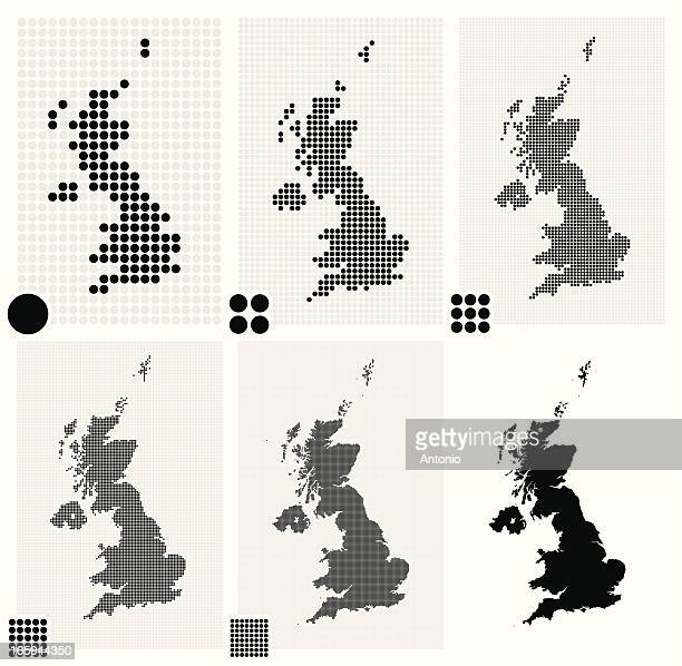 Six dotted maps of United Kingdom in different resolutions