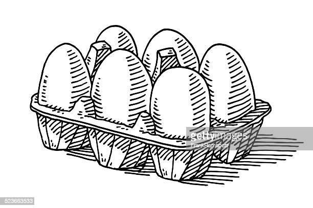 Six Eggs Packaging Groceries Drawing