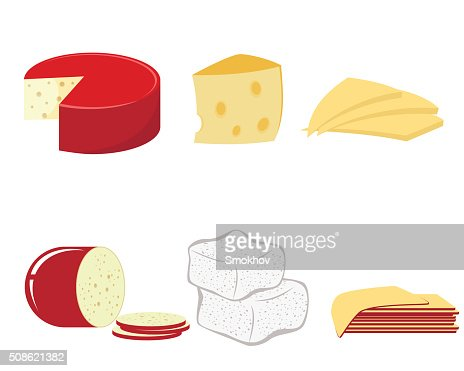 Six kind of cheese : Vector Art
