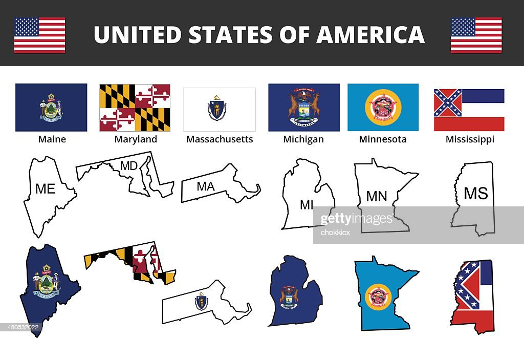 six of USA state flags and maps : Vector Art