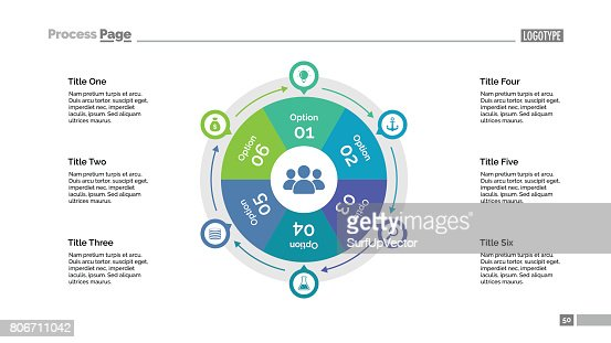 Six Options Cycle Slide Template : stock vector