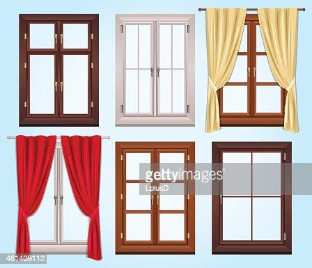 Fenster geschlossen clipart  Sechs Vektor Art Von Fenstern Und Zwei Vorhänge Vektorgrafik ...