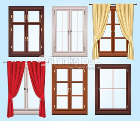 Six Vector Type Of Windows And Two Curtains Art