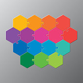 Sixteen pieces puzzle hexagonal diagram. Hexagon business presentation infographic. 16 steps, parts, pieces of process diagram. Section compare banner. Jigsaw puzzle info graphic. Marketing strategy.