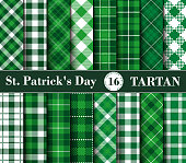 Sixteen Set of Tartan Seamless Patterns St. Patrick's Day. Collection of Plaid with Green and White Colors. Tartan Flannel Shirt Patterns. Trendy Tiles Vector Illustration for Wallpapers.