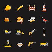 This is a vector illustration of sixteen under construction icons