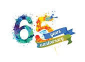 65 (sixty five) years anniversary. Vector watercolor splash paint