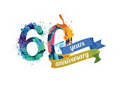 60 (sixty) years anniversary. Vector watercolor splash paint
