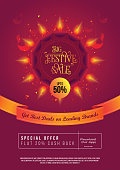 A4 Size Festival Sale, Offer Poster Design Layout Template with 50% Discount Tag