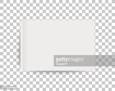 A4 sized mockup of a landscape-oriented magazine or catalogue. Blank sheet of paper. 3d vector illustration for your design. : Vector Art