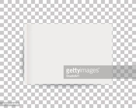 Maqueta de una revista de paisaje o catálogo de tamaño A4. Hoja en blanco de papel. 3D ilustración de vector para su diseño. : Arte vectorial