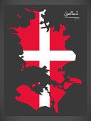 Sjaelland map of Denmark with Danish national flag illustration