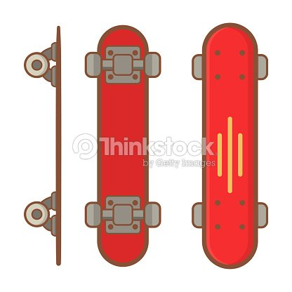 Skateboard active lifestyle.long board,red short board.Extreme street sport youth. Top and side view.