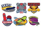 vector of skateboard badge design set