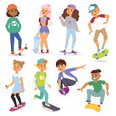 Skateboard characters set stylish kids. Vector illustration skateboard characters cartoon male activity extreme icon. Extreme activity speed child doodle skateboard characters set.
